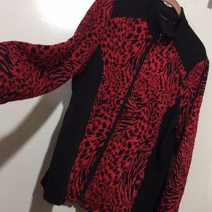 NWOT Susan Graver Animal Print Red Sweater Jacket